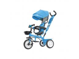 Triciclo Passeggino in Metallo a Pedali Con Seggiolino Reversibile 5 in1 Azzurro
